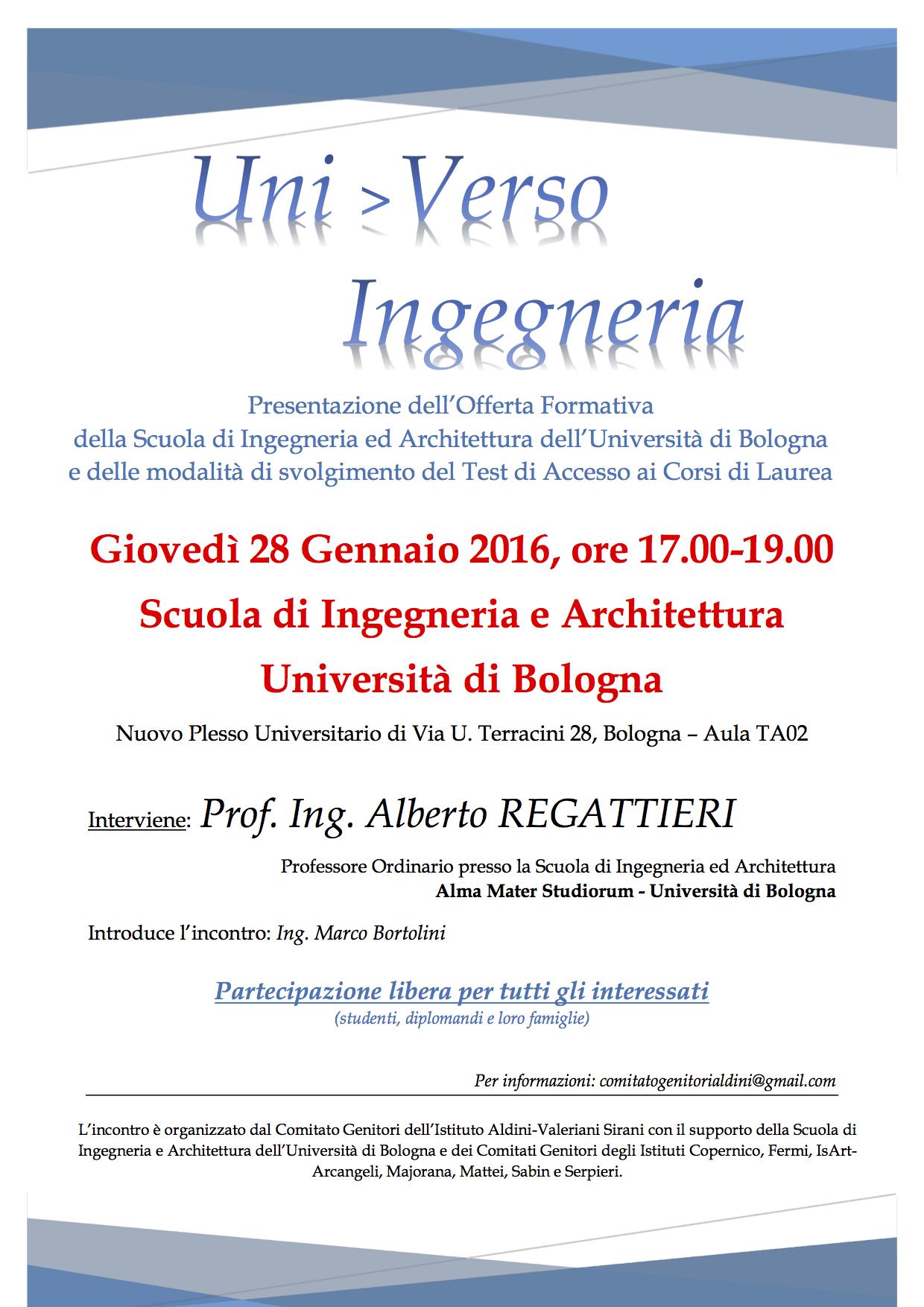 Uni>Verso: Ingegneria – Presentazione dell'Offerta Formativa