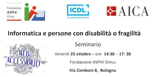 Seminario Informatica e persone con disabilità o fragilità